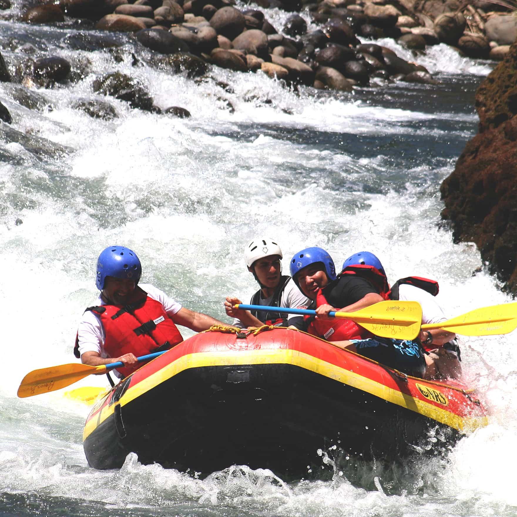 Closeup of group river rafting