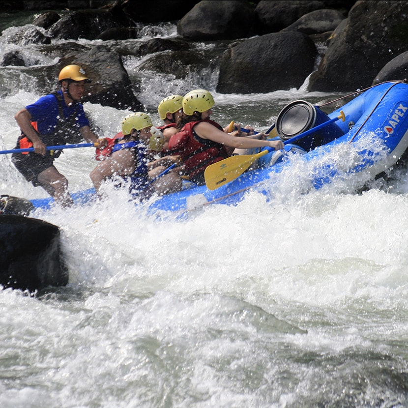 Closeup of group rafting on Pacuare river